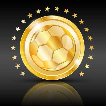 Gold football coin  Sport background  illustration  Vector