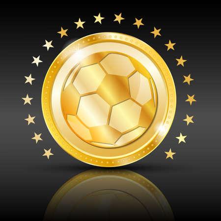 vegas: Gold football coin  Sport background  illustration