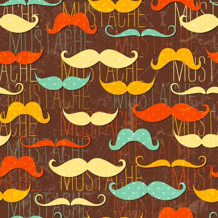 Mustache seamless pattern in vintage style   Ilustrace