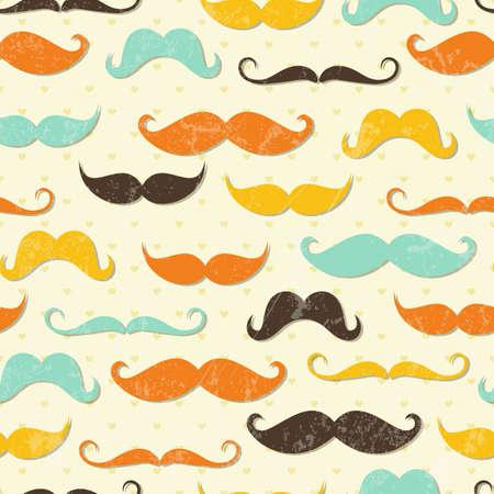 bigote: Bigote sin fisuras patrón de estilo vintage Vectores