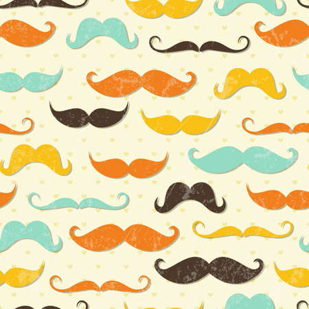 cartoon hairdresser: Mustache seamless pattern in vintage style   Illustration