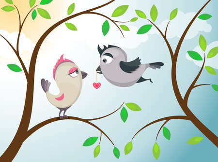 Couple of birds in love  Vector illustration EPS 10