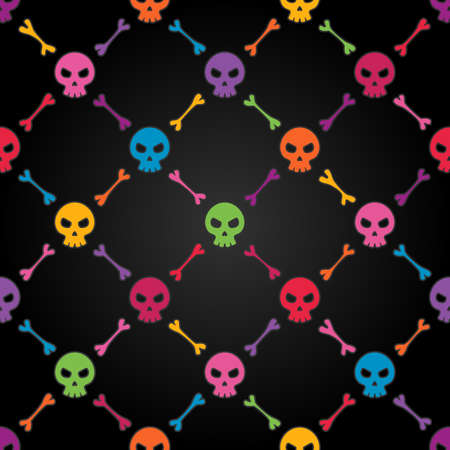 halloween symbols: Multicolor seamless pattern with skulls  EPS 8 vector illustration  Contains transparency effects
