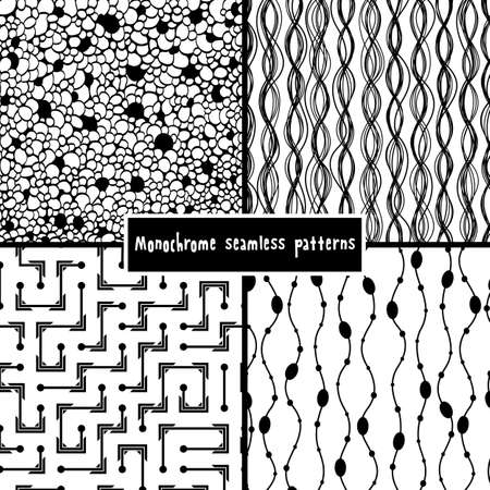 Set of four monochrome geometrical patterns Stock Vector - 18024655
