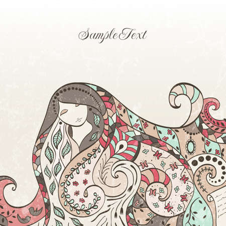 hair cover: Hand drawn beautiful girl with long hair and with eyes closed  illustration