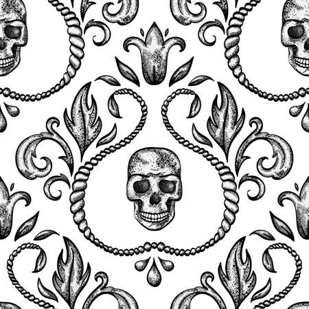 Vintage seamless ornament with skull in baroque style illustration  Vettoriali