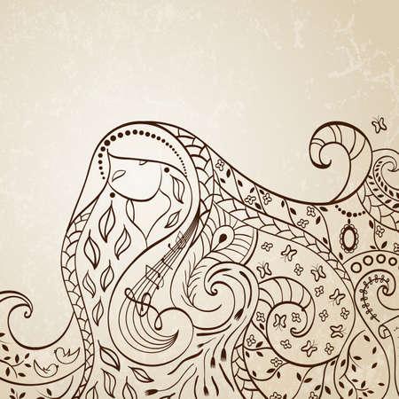 letras musicales: Ilustración chica de pelo largo