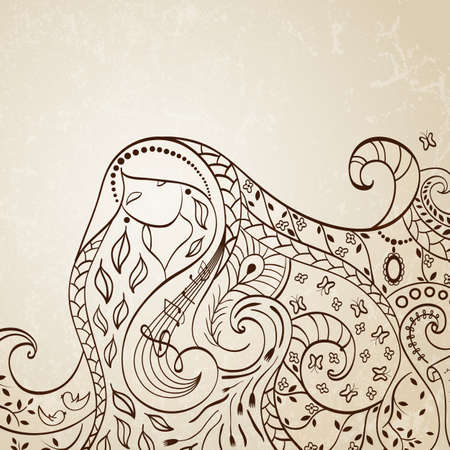 music lyrics: Ilustración chica de pelo largo