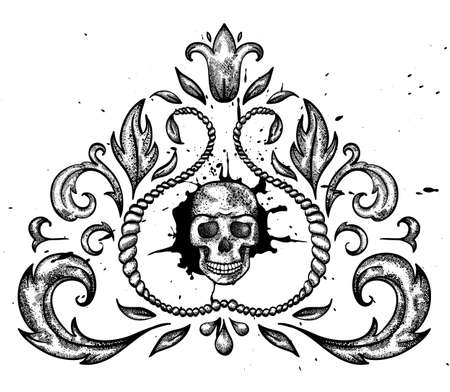 style: Hand drawn design element with skull and leaves