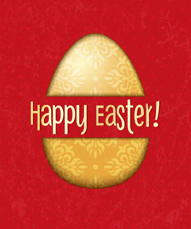 Vector card with golden easter egg on red background  EPS 10 vector illustration Stock Vector - 18306460