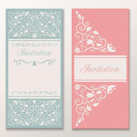 Set of beautiful wedding invitations  Vector illustration EPS 10