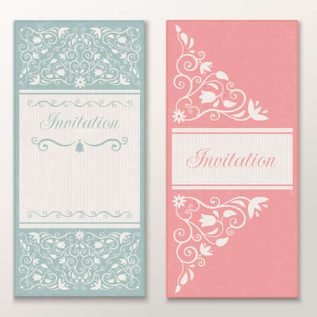 Set of beautiful wedding invitations  Vector illustration EPS 10