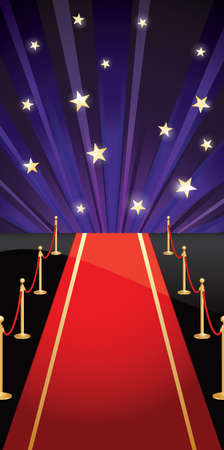 Background with red carpet and stars  Vector illustration EPS 10  CMYK