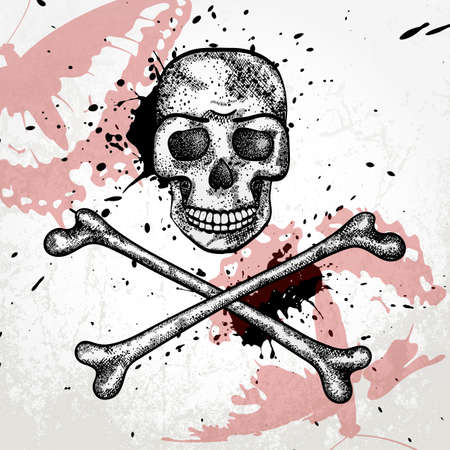 Hand drawn background with skull and bones Stock Vector - 18871585