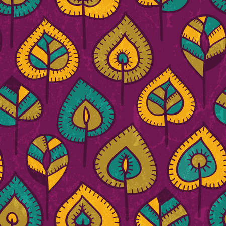 Seamless pattern with stylized leaves illustration