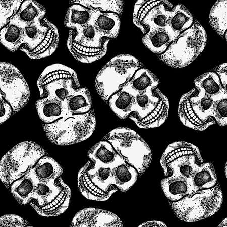 Seamless monochrome pattern with skulls  EPS 8 vector illustration  Vector