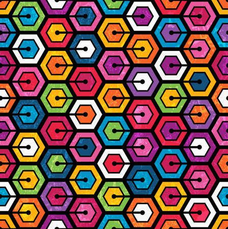 Colorful geometric pattern with hexagons  Seamless abstract background vector illustration  Grunge effect can be removed