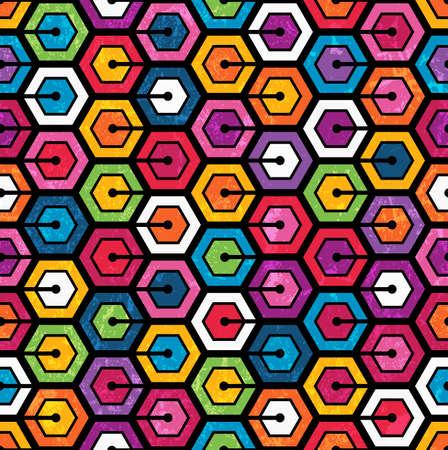 usunięta: Kolorowe geometryczny wzór z Sześciokąty Jednolite streszczenie tle ilustracji wektorowych Grunge efekt można usunąć