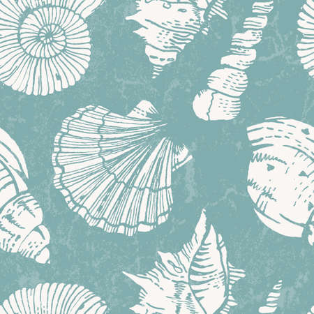 Seamless pattern with sea shells  Vector illustration illustration