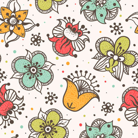 Seamless floral background  Grunge effect can be removed  photo
