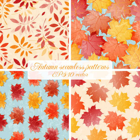 opacity: Set of seamless autumn patterns.Contains grunge texture with opacity and blending mode.