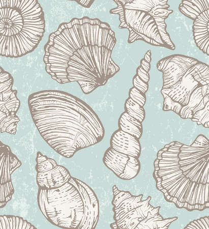 Seamless pattern with  hand-drawn seashells.  Vector
