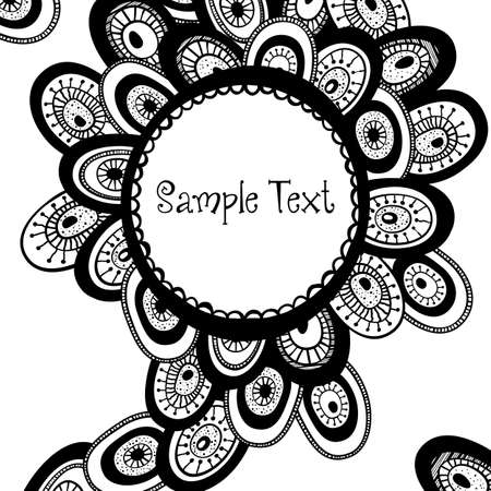 black and white image: Hand drawn monochrome background with place for text. All elements are available under the clipping mask.