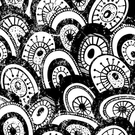 Monochrome hand-drawn pattern with grunge effect  Abstract seamless background   Vector