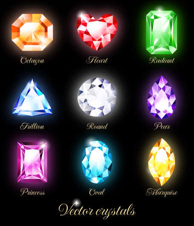 黒の背景上に分離されて輝く宝石のコレクションです。RGB。透明と描画モードが含まれています。