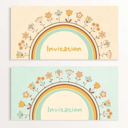 Baby invitation cards with flowers.  illustration. Vettoriali