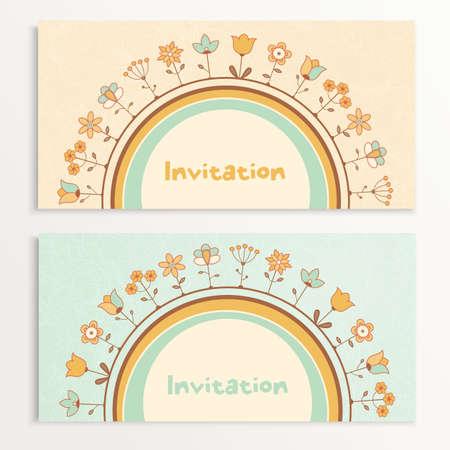 Uitnodiging van de kaarten met bloemen. illustratie. Stock Illustratie
