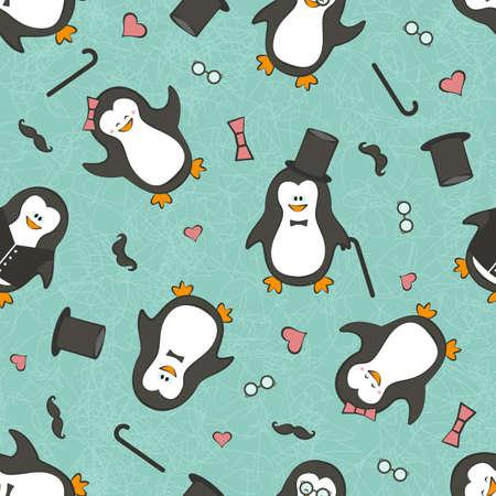 infantile:   funny penguins.   Illustration