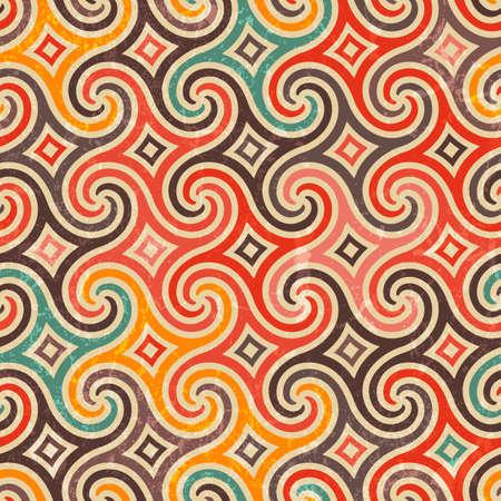 Retro pattern with swirls.  Illustration