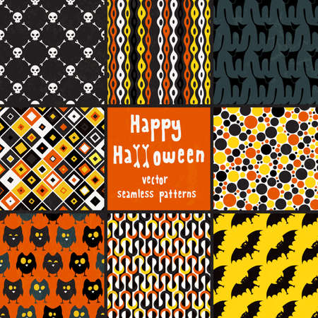 Collection of seamless patterns for Halloween design.   Vector