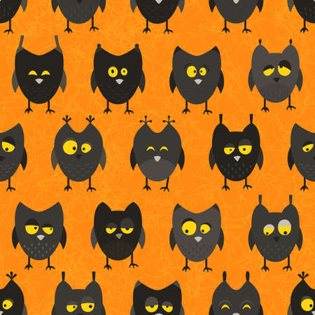 Halloween owl pattern. Seamless background. EPS 10 vector illustration. Vector