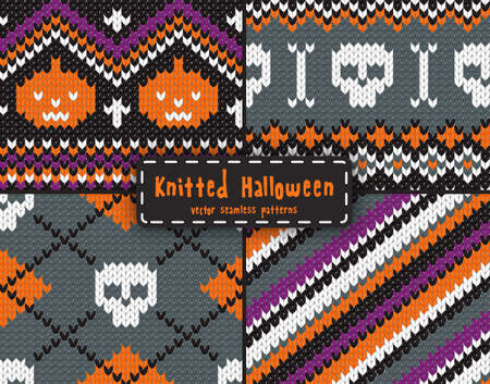 Set of seamless knitted patterns for Halloween design.  Vector