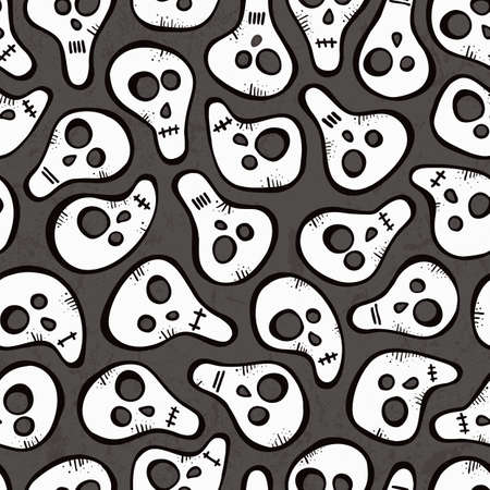 Seamless pattern with funny skulls  EPS 10 vector illustration  Vector