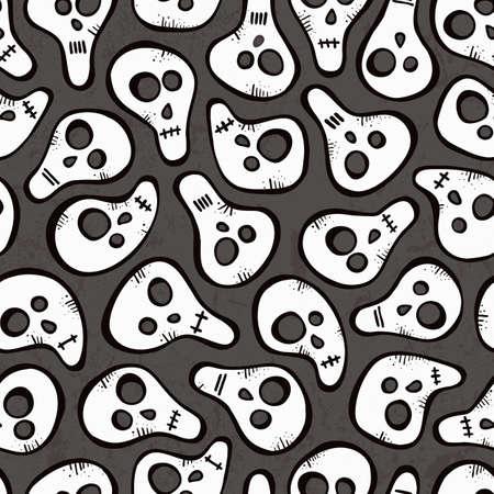 Seamless pattern with funny skulls  EPS 10 vector illustration Stock Vector - 23104053