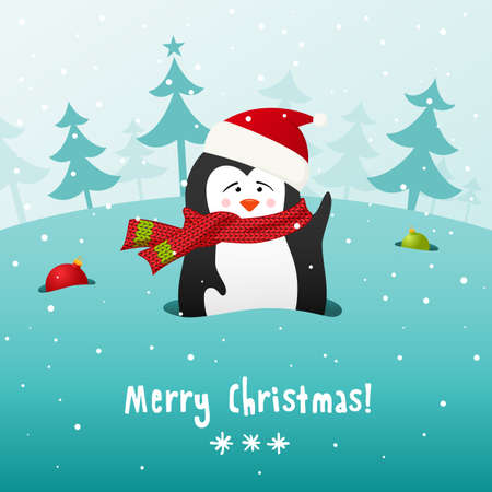 Cute Christmas penguin in knitted scarf  Vector background  EPS 10