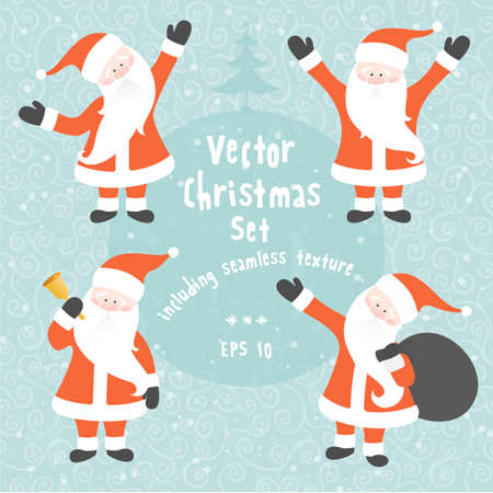 Vector Christmas set of Santa Claus in various poses and seamless texture. Stock Vector - 23284348