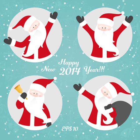 clipping mask: Vector Christmas set of Santa Claus. EPS 10 vector illustration. All Santas are available in full-length under the clipping mask. Illustration