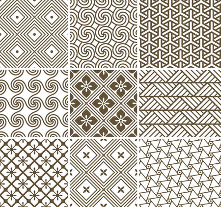 Vector set: 9 geometric seamless patterns.   Vector