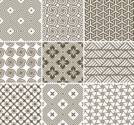 Vector set: 9 geometric seamless patterns.