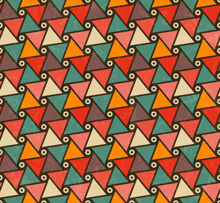 Retro pattern of triangle shapes. Abstract seamless background.