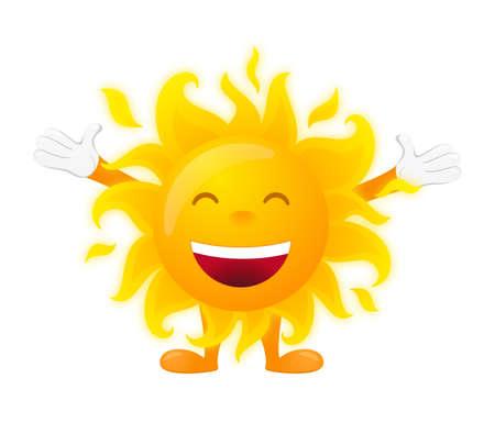 słońce: Szczęśliwy słoneczny znak na białym tle.
