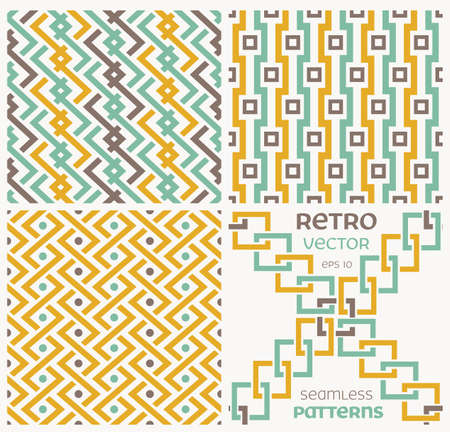 Set of seamless textures in retro style.  Vector