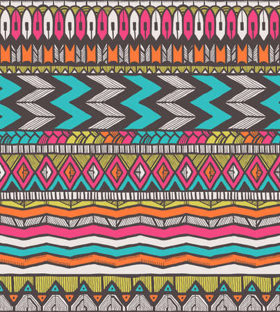 Tribal vector pattern. Seamless hand-drawn background.   Vector