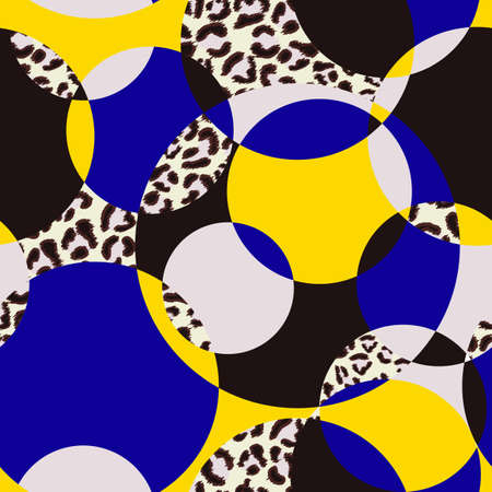 Seamless pattern pattern with circles and leopard print. Иллюстрация