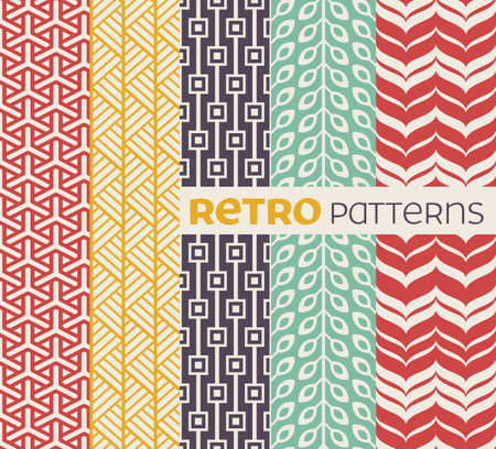 Set of seamless patterns in retro style.  Иллюстрация