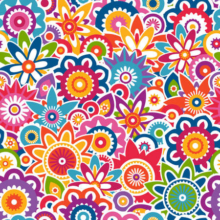 Colorful abstract floral pattern. Seamless vector background. EPS 8. Vector